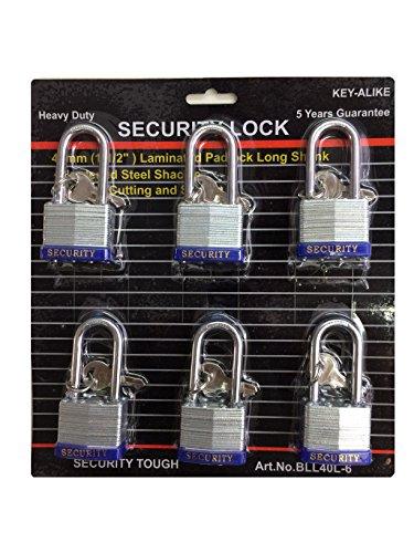 Heavy Duty Keyed Alike Set Security Padlock and Key (6 Pack)