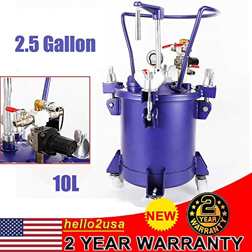 - Commercial 2.5 Gallon (10 Liters) Spray Paint Pressure Pot Tank, w/Manual Mixing Agitator & Fluid Pressure Regulator, Removable Stainless Steel Barrel w/Handle for Automotive, Latex, Varnishes