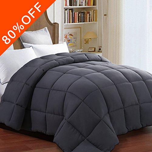 Queen Quilted Comforter Duvet insert with Corner Tabs 2100 Series, 7D Down Alternative fill Warmfit -Tech All-Season Comforter, Dark Gray, Full/Queen(88x88 (Gray T-mold Edge)