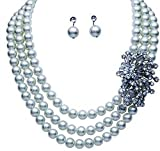 Pretty Peacock Rhinestone & White Faux Pearl 3 Strand Necklace & Earring Set- Elegant White Pearl Jewelry