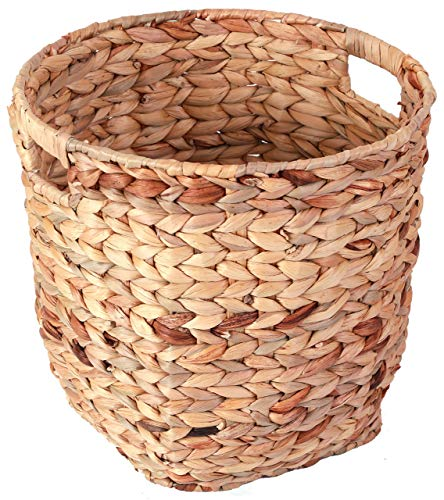 Vintiquewise QI003363.L Water Hyacinth Large Round Wicker Wastebasket with Cutout Handles (Waste Round Basket Woven Large)