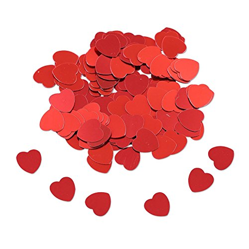 Valentines Day and Wedding Confetti - 1.1 Oz | Red Heart Confetti | Valentine and Wedding Party Supplies| Metallic Foil Confetti for Table Bed Decorations