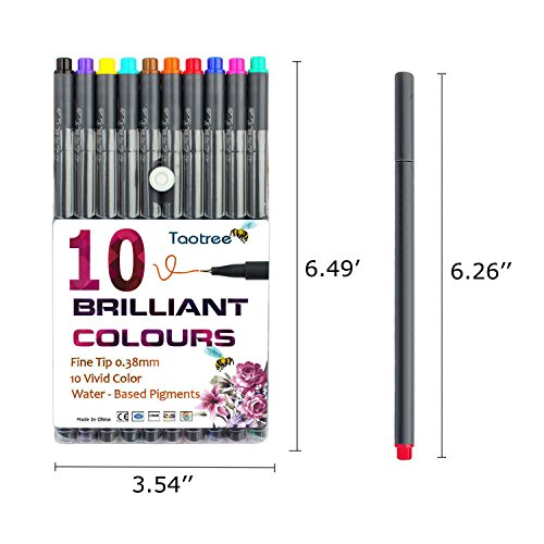Fineliner Color Pen Set, Taotree 0.38mm Colored Sketch Drawing Pen, Porous Fine Point Markers for Bullet Journaling and Note Taking, 10 Assorted Colors by Taotree (Image #1)