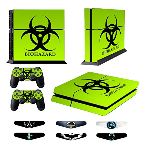 Skins for PS4 Controller - Decals for Playstation 4 Games - Stickers Cover for PS4 Console Sony Playstation Four Accessories Faceplate with Dualshock 4 Two Controllers Skin - Biological Harzard from TQS