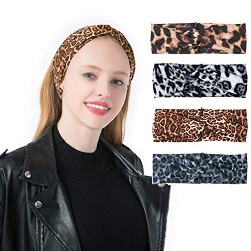(YSJOY 4 Pack Vintage Leopard Print Headband Criss Cross Bohemian Knotted Yoga Head Wrap Hair Band Twisted Turban for Women Girls)