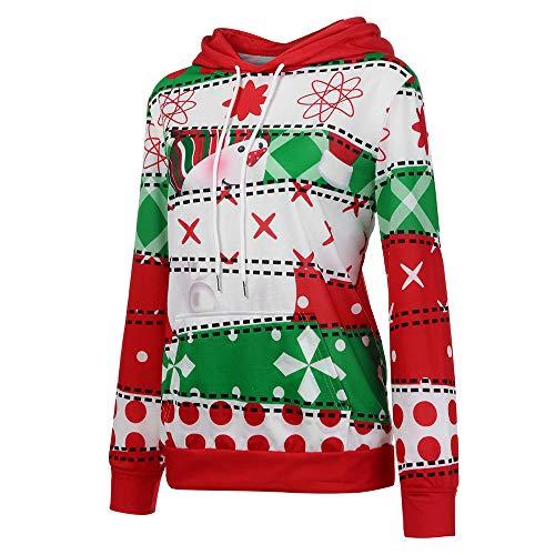 Bestow Camisa de Manga Larga de Navidad para Mujer Sudadera con Capucha y Bolsillo con Capucha Disfraces de Navidad Sudadera de Ocio: Amazon.es: Ropa y ...