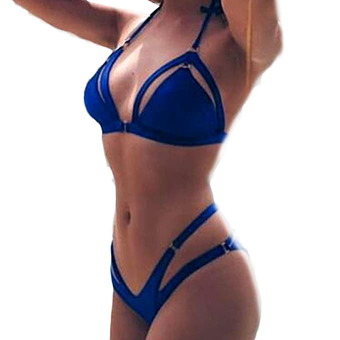db68165103c9 LANSKIRT_Bikinis Tanga Mujer Banda de BañO Color SóLido Casual Traje ...