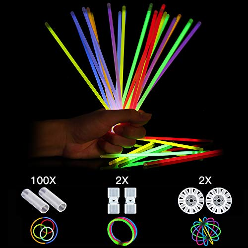Glow Sticks, 104 Pcs Connectors for Glow Bracelets and Necklaces, Glow Ball, Mixed Colors Party Sticks (100 counts)