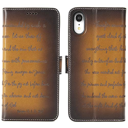 iPhone XR Leather Case - iPulse Bible Verse Series Vegetable Tanned Full Grain Leather Flip Wallet Case for Apple iPhone XR/10R (2018) with Magnetic Closure - Retro Cognac