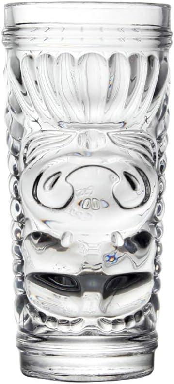 LHT Taza de Cerveza del Vidrio de la Personalidad de Vidrio cóctel Tiki Vaso de Vino de Vidrio Cara extraña Vasos de Cerveza (Color : A)