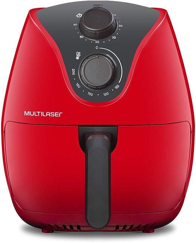 Fritadeira Elétrica Air Fryer 4L 127V 1500W com Grade Multilaser Vermelha