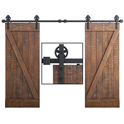 SMARTSTANDARD-10FT-Double-Gate-Heavy-Duty-Sturdy-Sliding-Barn-Door-Hardware-Kit-Two-Piece-Rail-Black-Smoothly-and-Quietly-Easy-to-Install