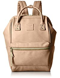 Japan anello Backpack Synthetic Leather Mouthpiece Backpack Mini Beige AT-B1212