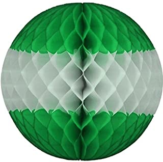product image for 12 Inch Honeycomb Tissue Paper Ball Decoration (3-Pack, Green/White)