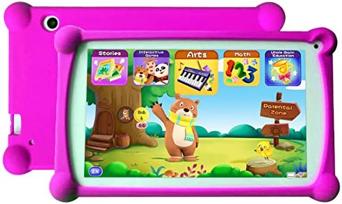 Kids Tablet 7 inch Android 9.0 Kids Tablets Toddler Tablet Kids Educational Tablet with WiFi Childrens Tablet 1GB + 8GB Parental Control, Google Play Store-Red