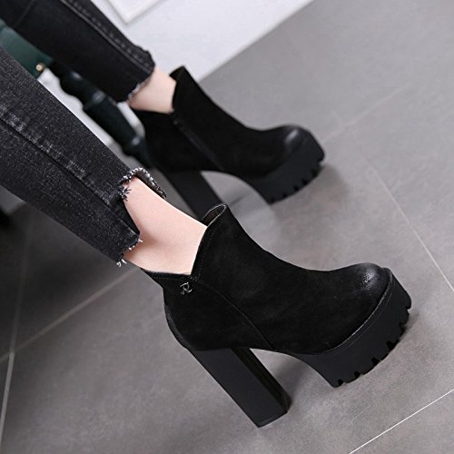 And European Heels Short Boots Waterproof Black New Heels High Sanding And Boots In Winter MDRW Martin High Woman 12Cm American 6xAwaqgU