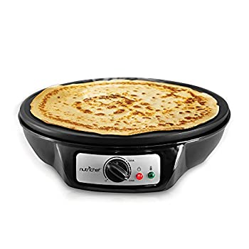 NutriChef Electric Griddle & Crepe Maker | Nonstick 12 Inch Hot Plate Cooktop | Adjustable Temperature Control | Batter Spreader & Wooden Spatula | Used Also For Pancakes, Blintzes & Eggs (PCRM12.V7)