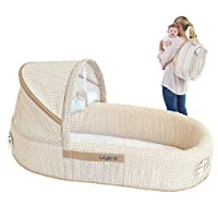 LulyBoo Baby Lounge To Go - Portable Infant Bed Folds Into Backpack - With Ac...