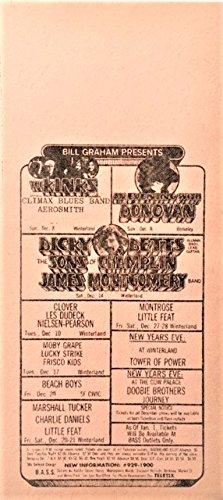 The Kinks - Beach Boys Bill Graham Presents Handbill 1974 Vintage and Rare