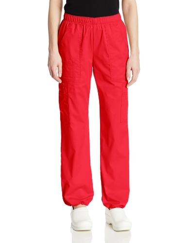 Cherokee Women's Mid-Rise Elastic Waist Cargo Scrubs Pant, Red, Large ()