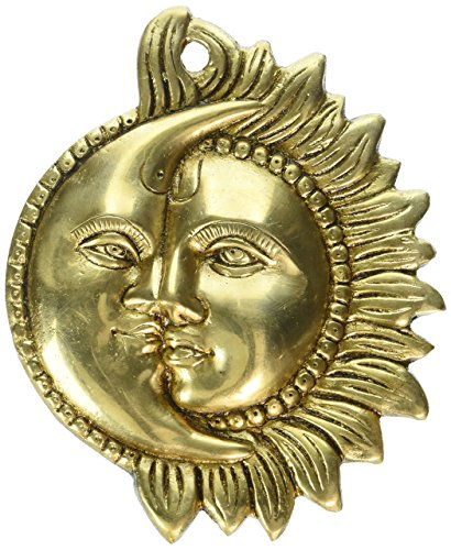 Wall Hanging Brass Figurine Sun and Moon Sculpture for Home Décor Indian 6.5 - Figurines Reindeer Brass