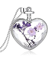 Women Dry Flower Heart Glass Wishing Bottle Pendant Necklace by TOPUNDER