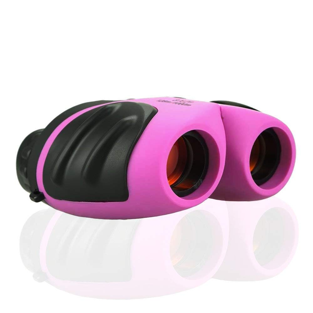 BITy Kids Binoculars Toys for Girls to Hiking,Kids Toys for 5-10 Year Old Boys,Outdoor Toys for Teen Girls Best Gifts for 3-9 Years Old Boys to Birdwatching or Camping(Pink)