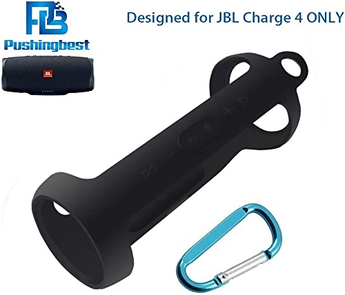 Silicone Case for JBL Charge 4 Portable Waterproof Wireless Bluetooth Speaker by Pushingbest Black