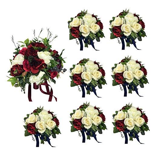 (Angel Isabella Elegant Wedding Package: Large Bridal Bouquet with 7 Bridesmaid Bouquets Burgundy Ivory Plum Greenery Keepsake Artificial Flowers )