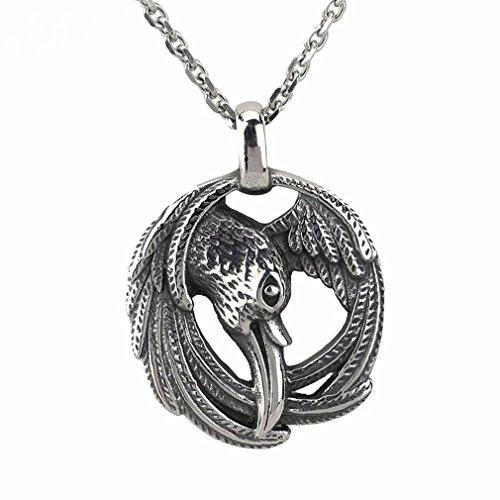 (JEWLUXURY Men Norse Viking Valknut Raven Rune Pendant Knot Viking Amulet Pendant Necklace Nordic Talisman)