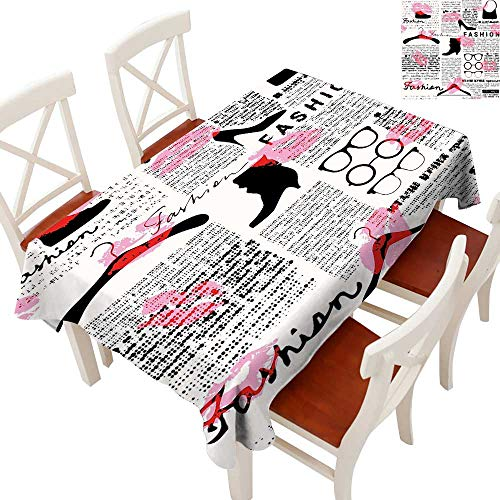 (Anyangeight Old Newspaper Decor Flow Spillproof Fabric Tablecloth Fashion Elements Kisses Lipstick Glasses Shoes Hangers Tablecloth Thick Original RestaurantScarlet Baby Pink Black 60