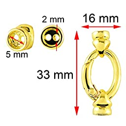 BEADNOVA 5 Pcs Gold Plated Oval Spring Ring Connector Clasp Lock with End Caps for Jewelry Necklace Bracelet
