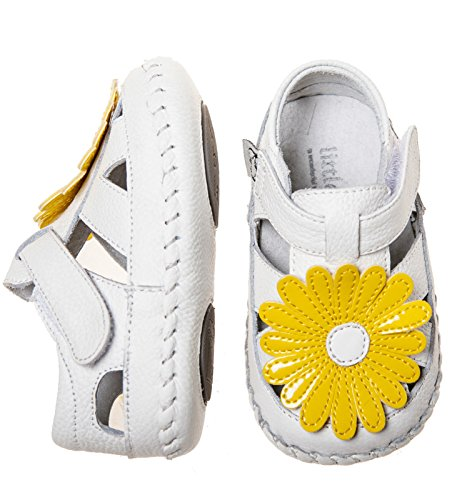 Filles Infantile Pour Bébé Chaussures bébé en cuir souple Semelle Sandales–Blanc Fleur Jaune