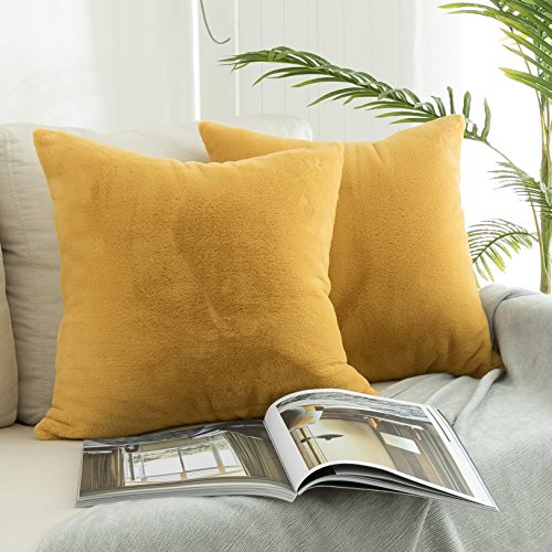 Kevin Textile 18 x 18 Inch Decorative Square Throw Pillow Cases Protectors Warm Faux Crystal Mink Fur/Suede Cushion Covers for Sofa, Set of 2, Misted Yellow -