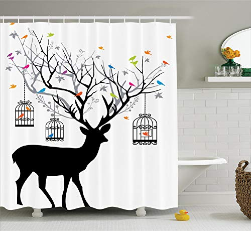 Ambesonne Antlers Shower Curtain, Deer with Colorful Birds and Birdcages Silhouette Ornament Vintage Style Print, Cloth Fabric Bathroom Decor Set with Hooks, 70