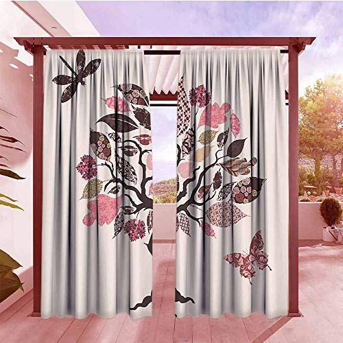 AndyTours Darkening Curtains Country Decor Collection Authentic Tree with Embellished Ethnic Patch Leaves and Dwelling Haven Property Artwork Hang with Rod Pocket/Clips W84x72L Pink Brown