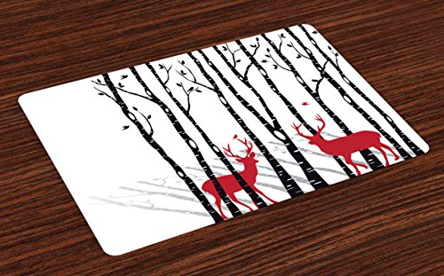 Ambesonne Antlers Place Mats, Deer Tree Forest with Red Holiday Theme Flying Leaves Branch Reindeer, Washable Fabric Placemats for Dining Room Kitchen Table Decor, Red Black Grey ()