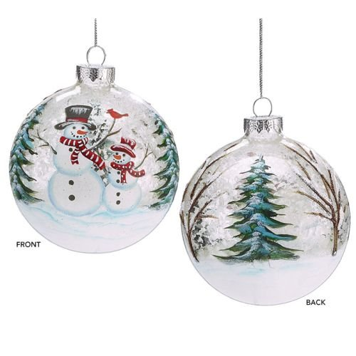 Burton and Burton Snowmen with Trees and Red Cardinal Christmas Ornament, 4