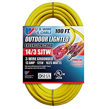 US Wire and Cable 14/3 100-Feet SJTW Yellow Lighted Extension Cord