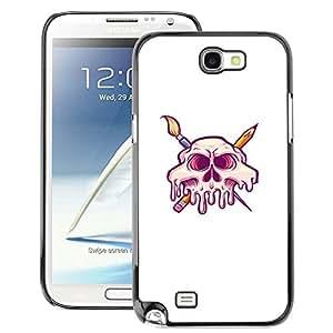 Snap-on Series Teléfono Carcasa Funda Case Caso para Samsung Note 2 N7100 , ( Arist Skull )