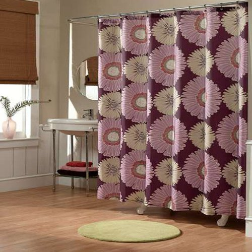Sunflowers Eggplant Floral Fabric Shower Curtain By M.style