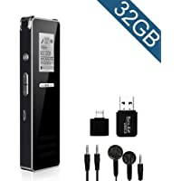 Digital Voice Recorder, Jane Choi 32GB USB Rechargeable Dictaphone Voice Recorder with MP3 Player/A-B Repeat, Noise Reduction, Portable Voice Activated Recorder for Meeting, Lecture, Interview, Class