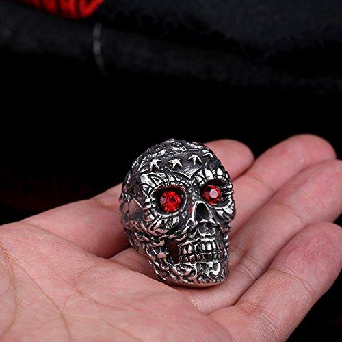 Men's Vintage Gothic Stainless Steel Band Rings Scary Big Evil Red Eye Skull Rock Punk Biker Rings Size 7-13