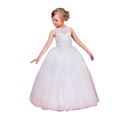 ABwedding White Ball Gown Girls Dresses First Communion Dresses For Girls … (US 2)
