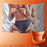 Tapestry Wall Hanging Cropped Image of Beautiful Passionate Couple Having Sex on Bed Man Home Decorations for Bedroom Dorm 60W x 40L Inch