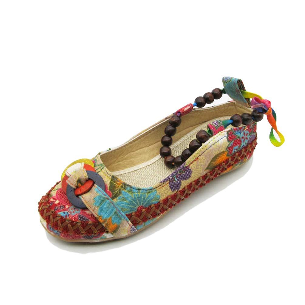 Pisos de Zapatos Mocasines Casuales Damas Moldeado Tobillo Correas Retro étnica Bordada Hecha a Mano de la Mujer Mocasines: Amazon.es: Zapatos y ...