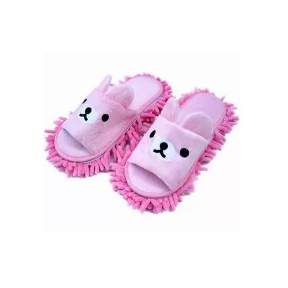 Liitrton 1 Pair Washable Mop Slippers Shoes Microfiber Chenille Reusable Dust Dirt Hair Cleaner for Office House Polishing Cleaning (Pink) by Liitrton