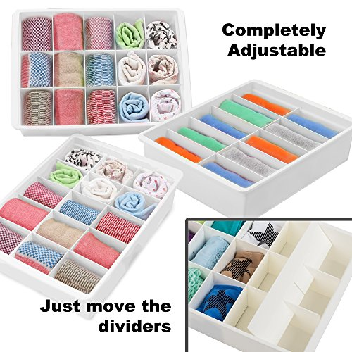 Adjustable Drawer Organizers (3 Set) With Customizable Dividers in Stackable Durable Chic Plastic for your Lingerie Clothes Office Desk Crafts Toys & Bathroom Storage by Uncluttered Designs