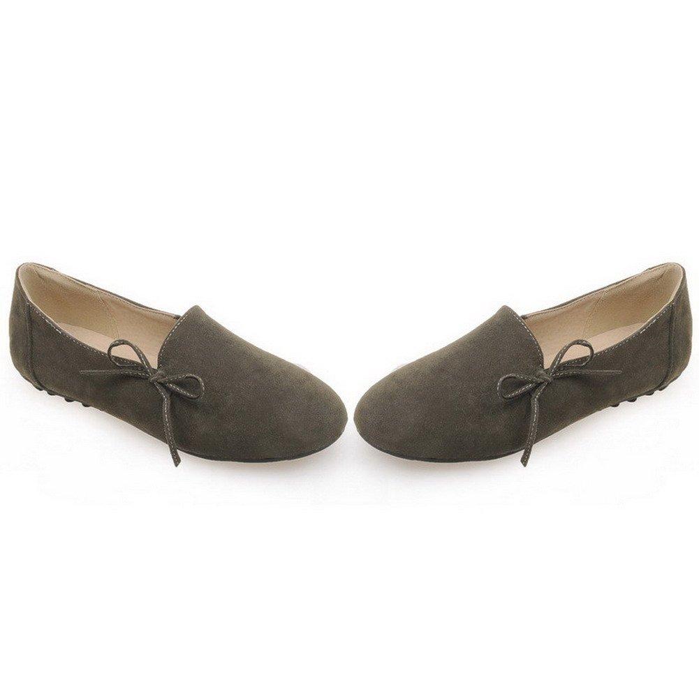 VogueZone009 Mujeres Mini Tacón Sólido Sin cordones Puntera Redonda Mocasines con Nudo, Armygreen, 39: Amazon.es: Zapatos y complementos