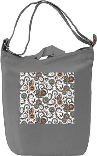 Ethnic Flowers Print Borsa Giornaliera Canvas Canvas Day Bag| 100% Premium Cotton Canvas| DTG Printing|